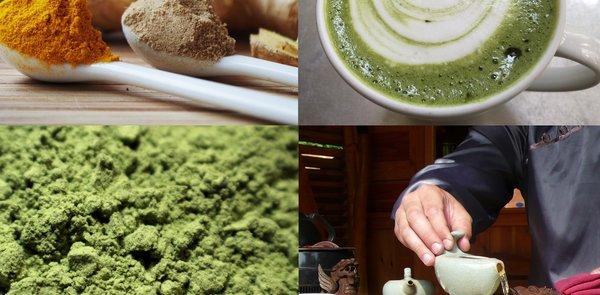 Matcha, Mate, Ingwer und Weizengras