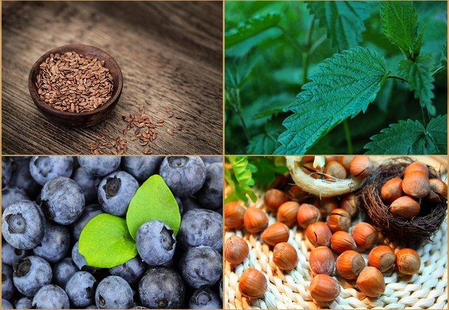 Superfood Beeren, Nüsse, Kräuter und Samen